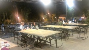 """""""Family-style"""" seating located outside Krog Street Market encourages socialization"""