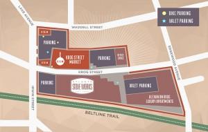 Map of Krog Street Market showing close proximity to the Atlanta Beltline