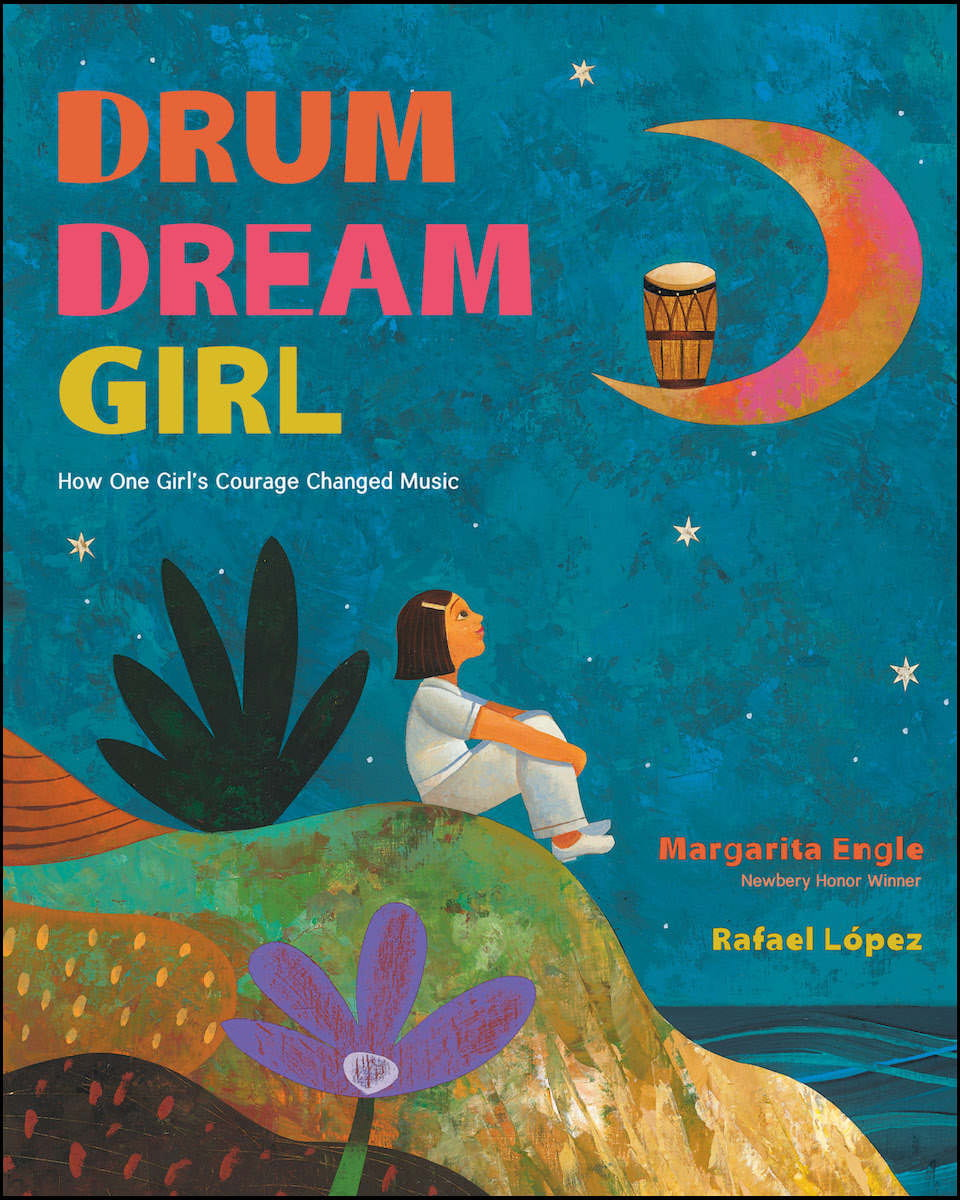 A young girl looks up at the moon holding a drum and dreams.