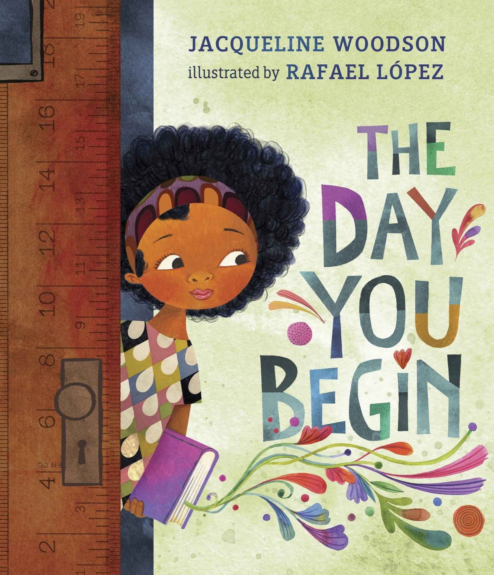 A young, black girl peeks into the classroom on the first day of school