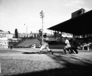 Right-handed Atlanta Cracker swinging at Ponce de Leon Ball Park, 1942. LBCE2-041a, Lane Brothers Commercial Photographers Photographic Collection, 1920-1976. Photographic Collection, Special Collections and Archives, Georgia State University Library.
