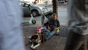 Homeless man passed by on the street