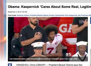 """""""Colin Kaepernick takes a knee during the national anthem at a preseason game in San Diego. (CBS)"""""""