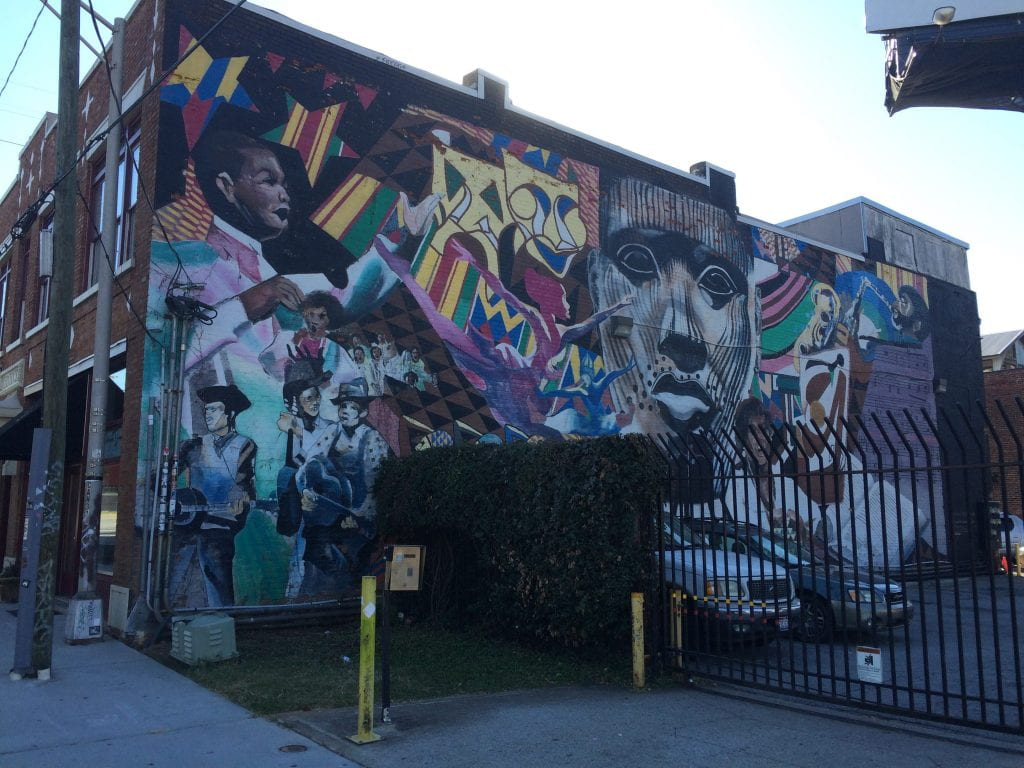 Huge mural depicting the relationship between African and African American Art