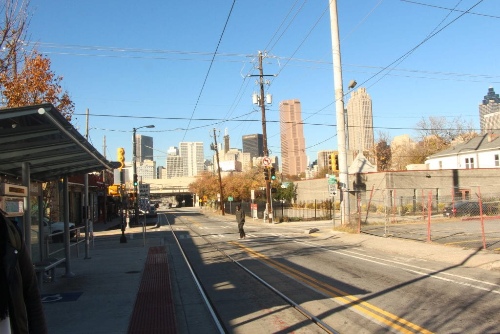 A view of downtown from the Edgewood Streetcar Stop