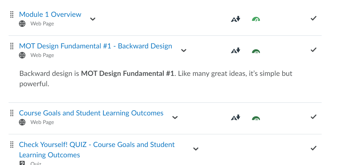 This image shows the new accessibility rating tool for iCollege Content.