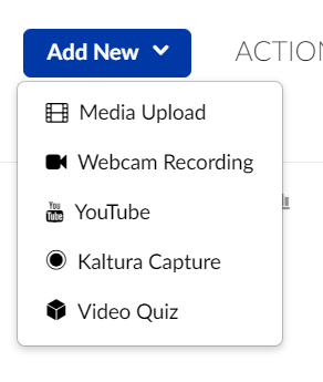 The Add New menu in Kaltura, including the new YouTube option.