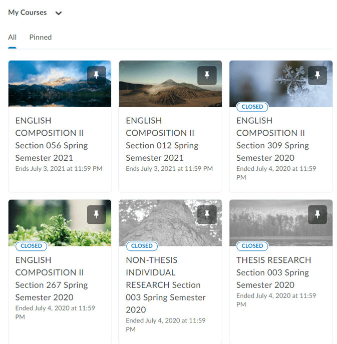 The new My Courses widget with 3 courses per row.