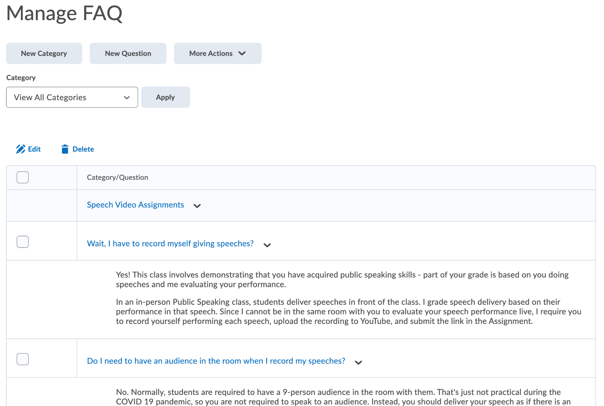 The Manage FAQ page for instructors in iCollege.