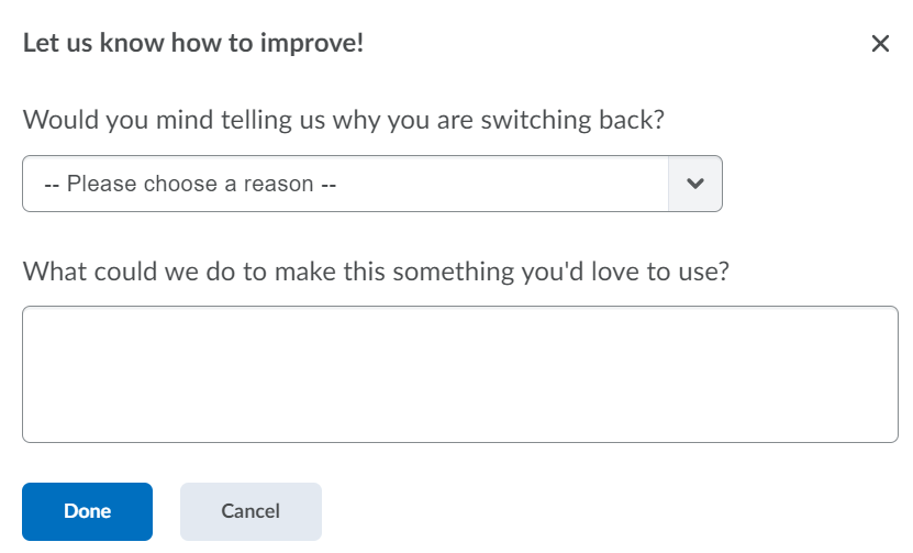 A dialog box which asks instructors for feedback on the new iCollege assignment creation experience.
