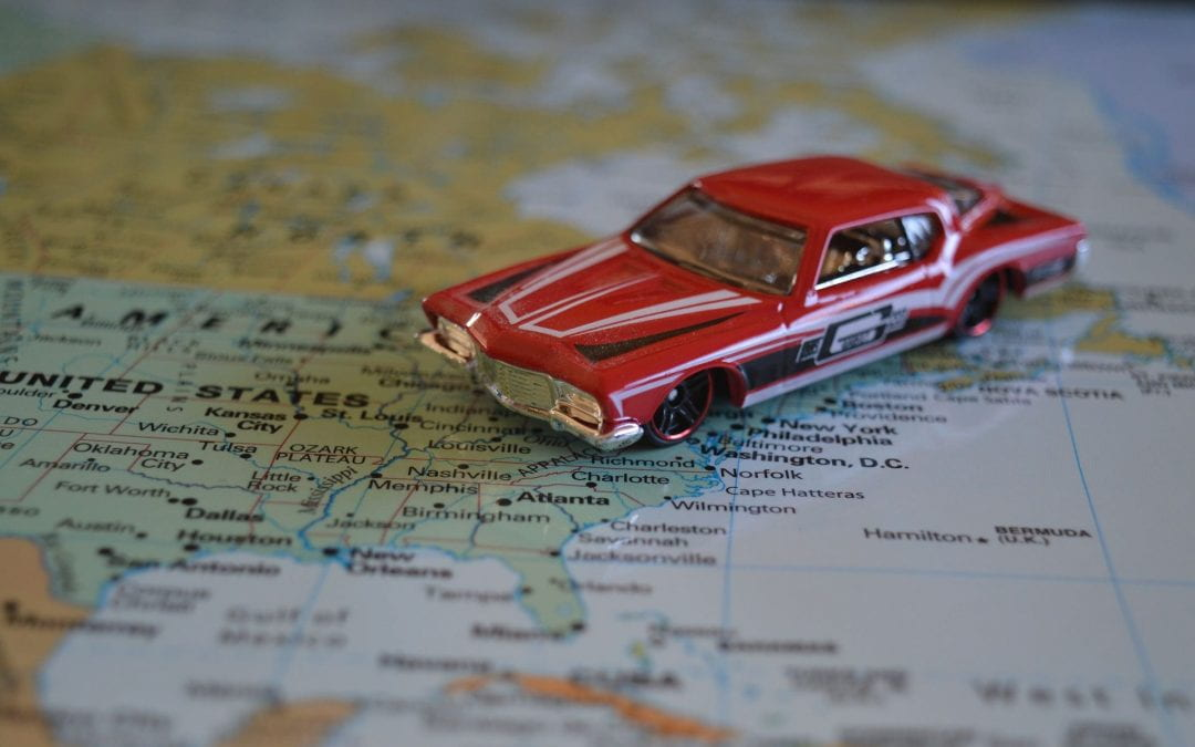 toy car on map of United States