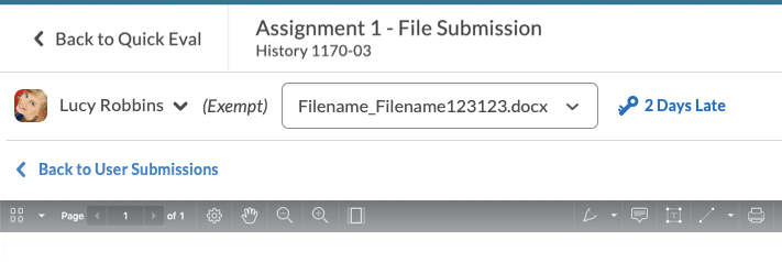 A drop-down menu that allows instructors to select a file as part of a submission.