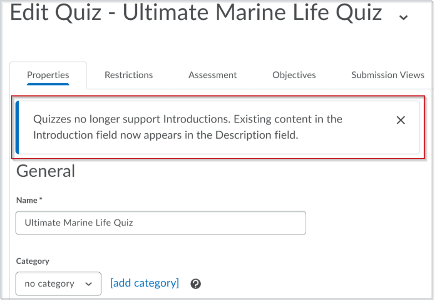 Quiz Introduction Field Message