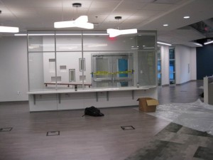 Front door and area for faculty computers/workstations