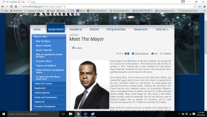 """This is a screen shot of the page consisting of """"Government"""" related links. This photo also includes information on the mayor in Atlanta. The different sections under the """"Government"""" tab, include sub sections. An example is shown in the photo under """"Mayor's office"""""""