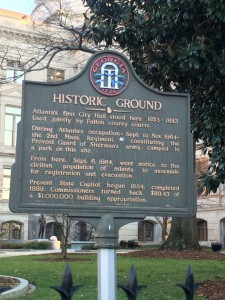 This sign that stands outside of the state capital building of Georgia details the history of the land.  Several people stopped to read it as they walked past the building.  It helps visitors put the scene in a historical perspective that not many have prior knowledge of.