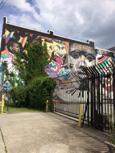 Buildings built on Edgewood as this one allow for street art that photoshoots and music videos use for backdrops