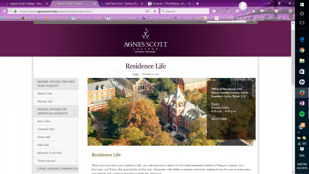 This is the residence life page, from: agnesscott.edu