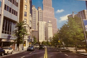 Michael Rose, Atlanta Then and Now, 2001, pg. 39. Fulton County Library. Peachtree in 1973 and Muse across Woodruff Park.
