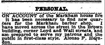 """Personal AD #1."" Atlanta Constitution. May 21, 1896. 4"