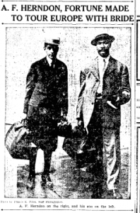 """""""A.F. Herndon, Fortune Made To Tour Europe With Bride."""" Atlanta Constitution. May 28, 1912. 18"""
