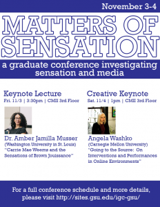 Poster for Matters of Sensation conference.
