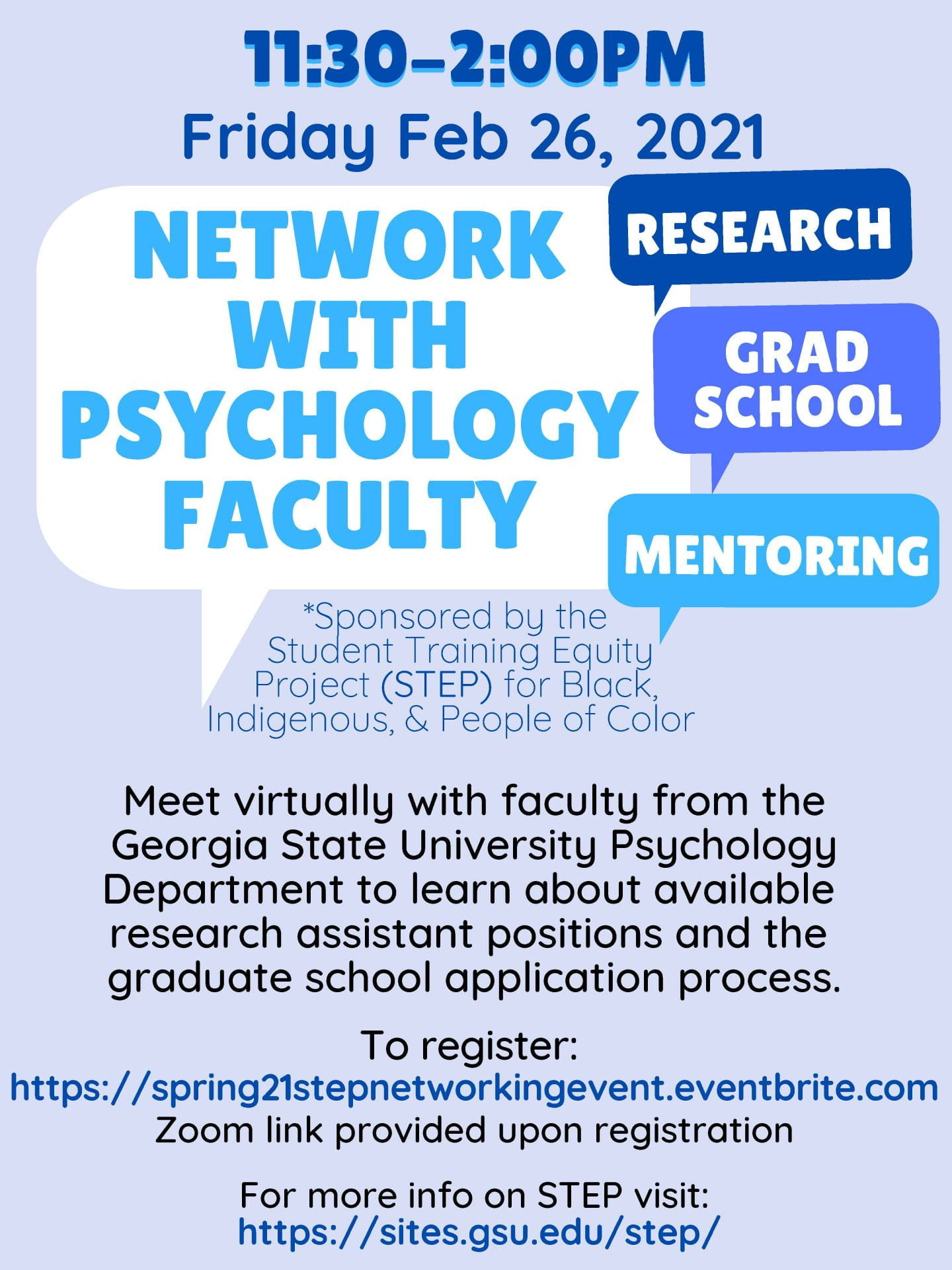 Networking Event   GSU Psychology Student Training Equity