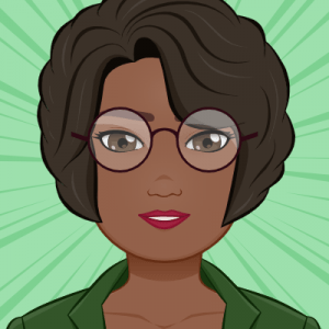 Image of an avatar. Black woman with medium length wavy dark brown hair and brown wire rimmed glasses. She is wearing a dark green collared shirt and red lipstick.