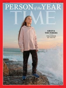Photo obtained from:https://time.com/person-of-the-year-2019-greta-thunberg/ Climate activist Greta Thunberg photographed on the shore in Lisbon, Portugal December 4, 2019Photograph by Evgenia Arbugaeva for TIME