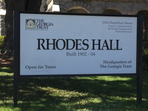 Sign Marking Rhodes Hall as Headquarters of the Georgia Trust