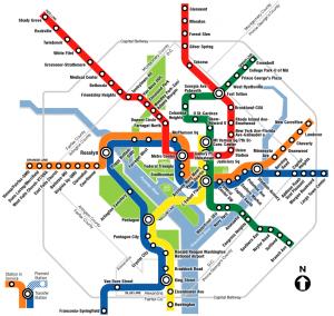 Map of Washington D.C.'s passenger rail system: The Metro