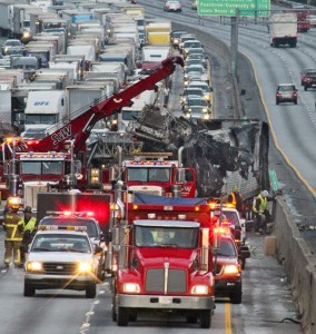 A picture of the delays that resulted from the margarine tanker wreck