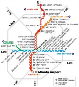 Map of the four MARTA subway lines