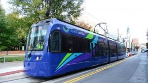 An Atlanta Streetcar running along Auburn Street