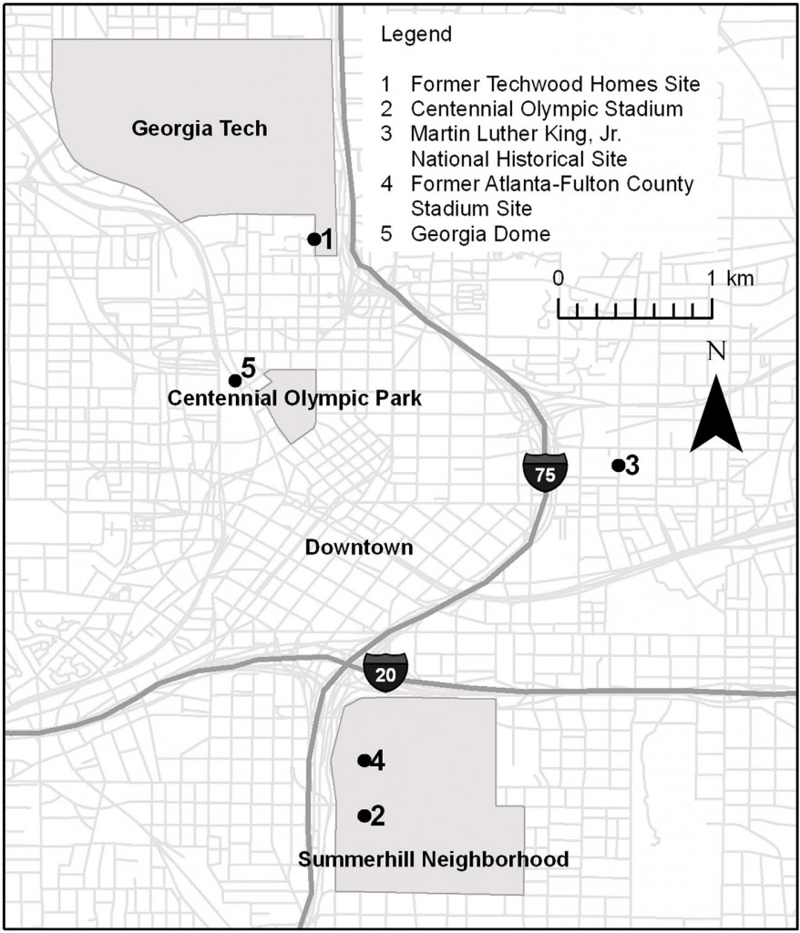 This is a depiction of some of Atlanta's Olympic related areas and other landmarks