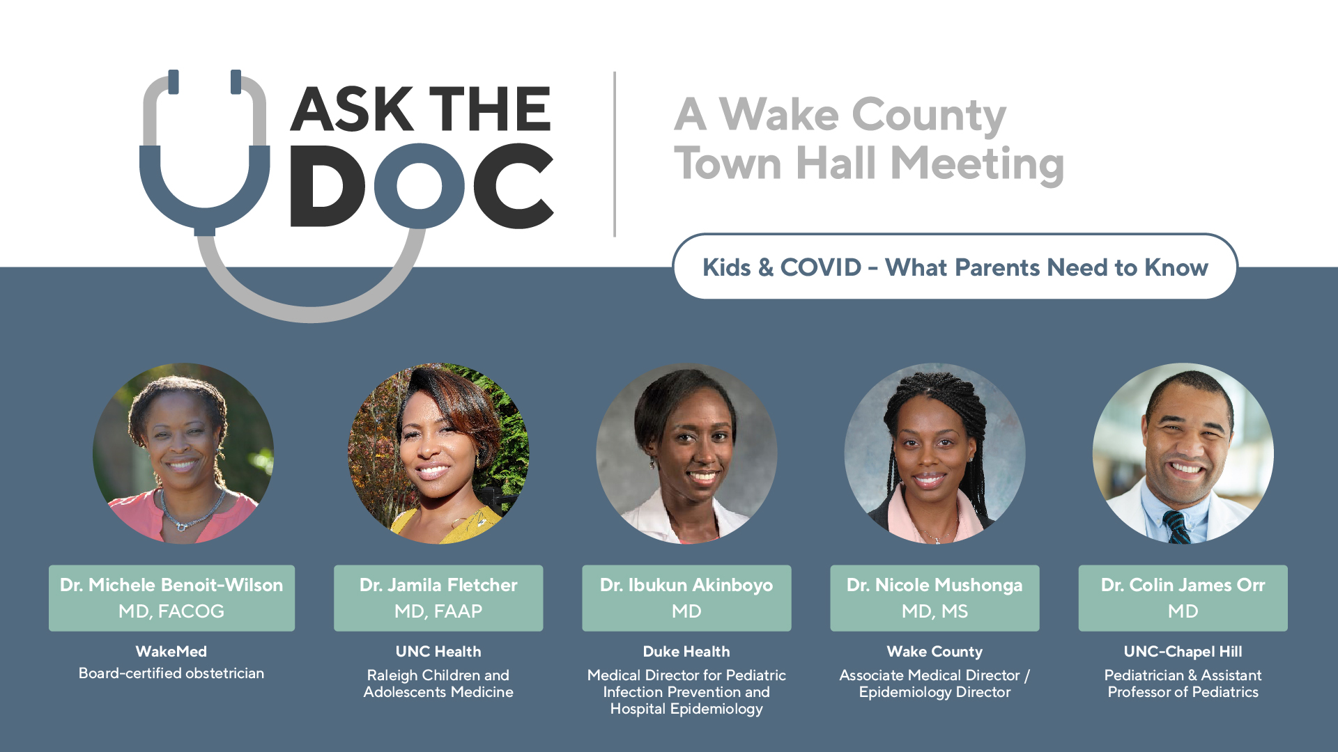Ask the Doc Facebook ad, listing panelists