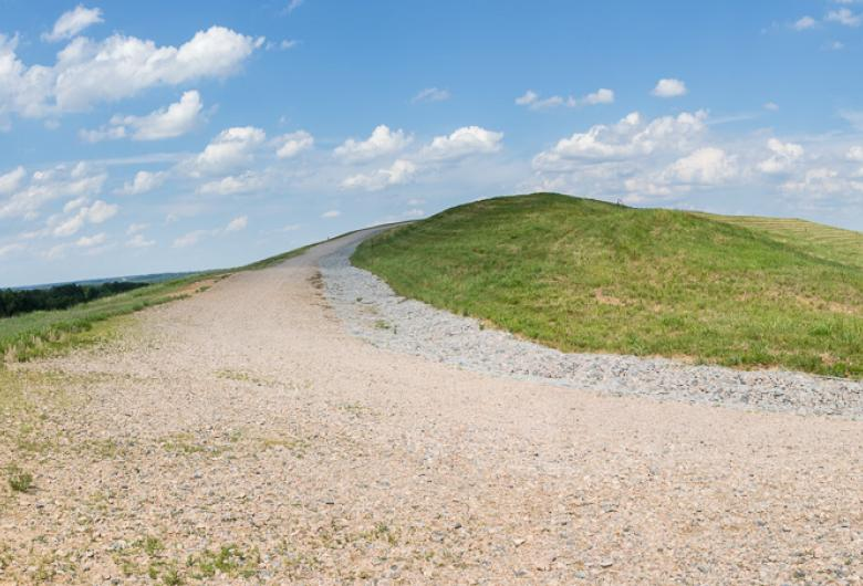 Curved section of Top of Hill Trail showing the actual top of the hill