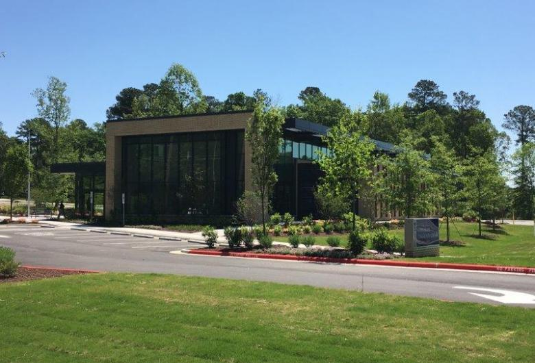 A picture of Morrisville Community Library from Town Hall Drive