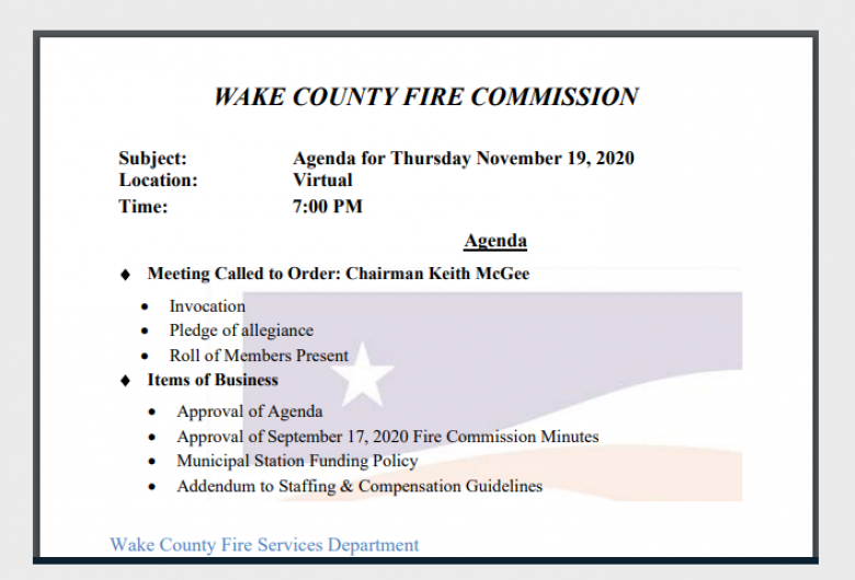 Fire Commission Committee Agenda Card
