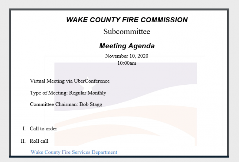 Fire Commission Subcommittee Agenda Card