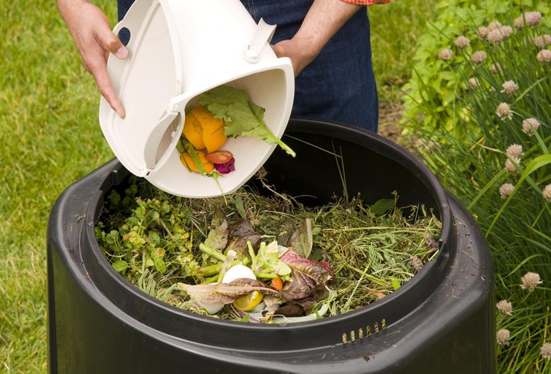 Resident composting with an Earth Machine Compost Bin