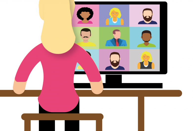 Graphic of presenter speaking to a group virtually.