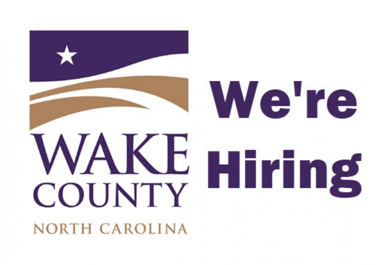 """Wake County logo with the words """"We're Hiring"""" to the right"""