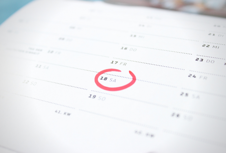 View of a calendar with a date circled.
