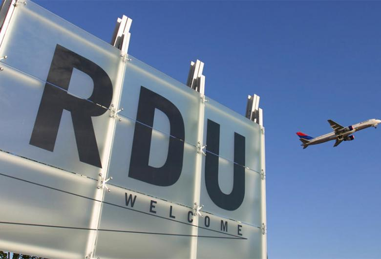 RDU airport sign