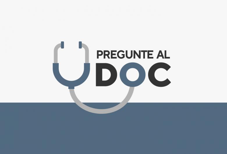 """gráfico de estetoscopio que conecta las palabras """"pregunte al DOC"""""""