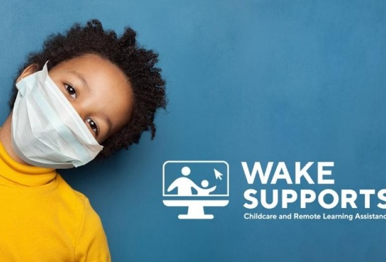 Masked child with WakeSUPPORTS logo for childcare and remote learning assistance