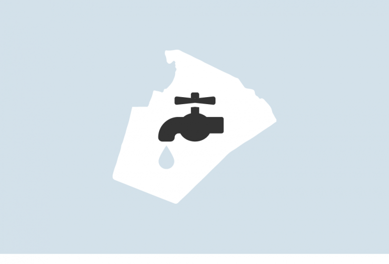 Graphic of dripping faucet in an outline of Wake County map