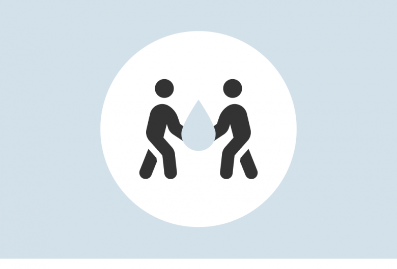 Graphic of two people lifting a water droplet