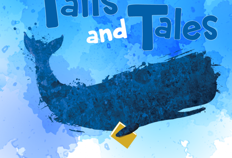 """graphic of a whale with a book and the text """"Tails and Tales"""""""
